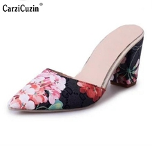Women High Heel Sandals Pointed Toe Thick Heels Shoe Glitter Sexy Summer Shoes Ladies For Party Brand Sandal Footwear Size 35-39