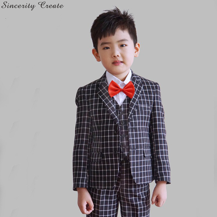 Winter England Plaid Wedding Suit For Boys Formal Wear Suits Boys Blazer Jacket+Pants+Vest Three Pieces Set KS-1624<br>