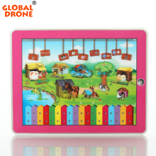 Global Drone Russian Funny Farm Stories with LED Light Baby Musical Learning Machines Children Educational Learning Toy(China)