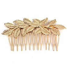 2017 New Amazing Coming  Fashion Punk Women Girls Golden Leaf Hair Comb Hair Clip Jewelry Whale