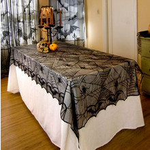 122x244cm Halloween Spider Round Web lace black cloth material Tablecloth Topper Covers Fireplace Table Party Decor(China)