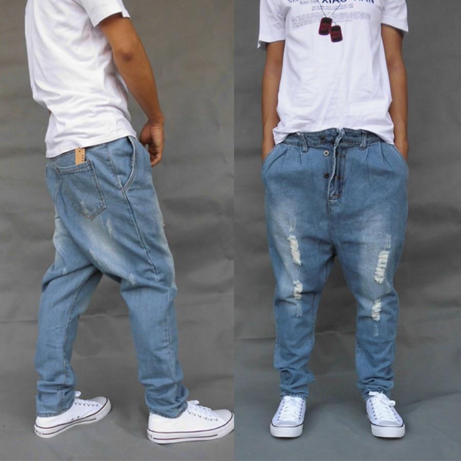 New Blue Fashion Mens denim Harem Pants loose cotton casual jeans trousers Boys loose baggy pants size Cross Pants pantalonesÎäåæäà è àêñåññóàðû<br><br>