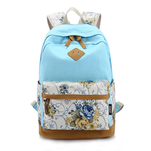 VSEN 2X Floral Canvas Bag Backpack School for Teenager Girl Laptop Bag Printing Backpack Women Backpack light Blue