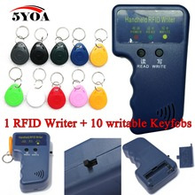 Handheld 125KHz EM4100 RFID Copier Writer Duplicator Programmer Reader + 10pcs EM4305 Rewritable ID Keyfobs Tags Card T5577 5200