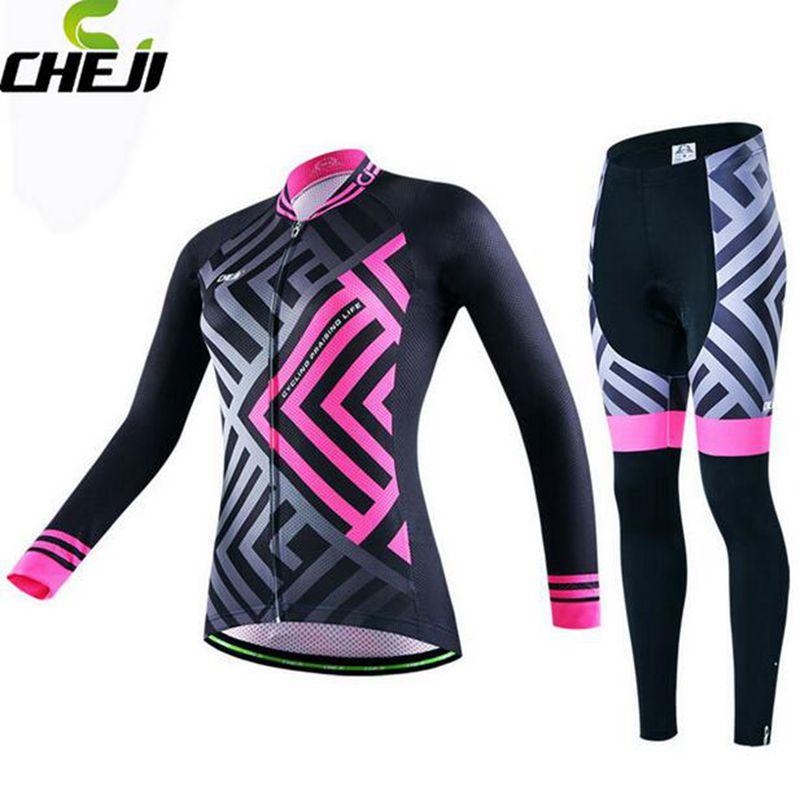 CHEJI Bike Women Girls Wear Long Sleeve Clothing Ropa Ciclismo Bicycle Sport Wear Jersey + Pants Set Size S-XXL<br>