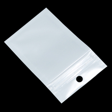 Small 6*10cm White / Clear Self Seal Zipper Plastic Retail Packaging Bag, Ziplock Zip Lock Bag Storage Package W/ Hang Hole