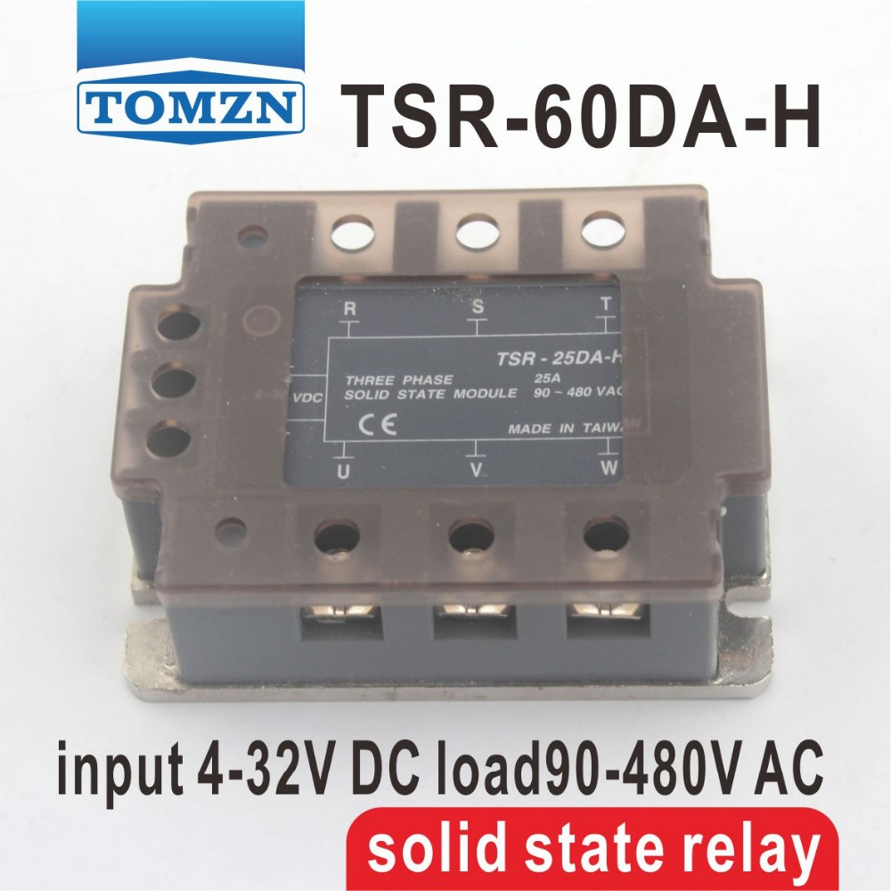 60DA TSR-60DA-H Three-phase High voltage type SSR input 4-32V DC load 90-480V AC single phase AC solid state relay<br>