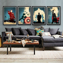 4 Panel Pictures Acrylic Paintings Abstract Marvel Comics Hero Oil Painting Canvas Retro Movie Star Batman Hulk Captain America