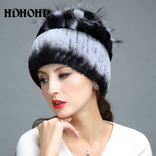 HDHOHP 2017 New Fur Hat Winter Women Genuine Rabbit Fur Hat With Silver Fox Fur Knitted Beanies Fashion Women Natural Fur Caps(China)