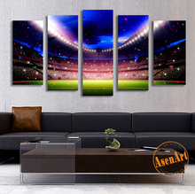 5 Piece Spotlight Football Playground Canvas Painting World Cup Canvas Prints Picture Wall Decorative Painting for Living Room