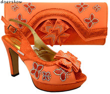 Hot Selling peach Color African Shoes and Bags Matching Set Fashion Italian Matching Shoes and Bag Set doershow   MM1-49