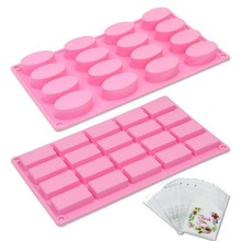 "BAKHUK 2Pcs Handmade Silicone Soap Mold ( 2"" x 1"") for Soap Candy Chocolate Cake Making & 100 Sealed Bags(China)"