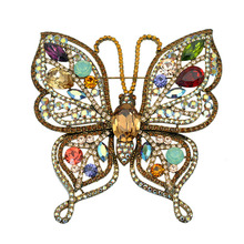 Large Brooches Butterfly Brooch Rhinestone Crystal Exaggerated Big Dress Suit Coat Clothing Accessories Safety Pin Metal Broach