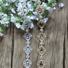 Free Shipping 1 yard Rhinestone Bridal Trimming For Wedding Gown Bridal Sash Rhinestone Applique Rhinestone Chain RC12301