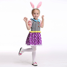 Kids Bunny Costumes Child Animal Cosplay Rabbit Costume Carnival Performance Clothes Cute Dot Dress with Bunny Ear Headwear 2017(China)