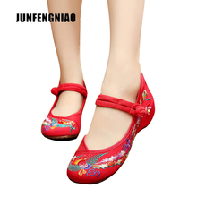 JUNFENGNIAO Women Shoes Flats Sandals Embroider Mother Flower Slip On Canvas Round Toe Floral Dance Retro Casual Superstar YBY-1(China)