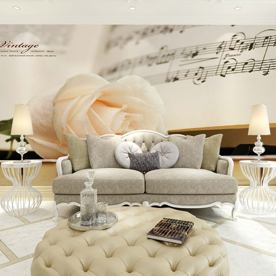 ShineHome-Classical Rose Music Embossed Photo Wall Paper Room Wallpaper 3d for Livingroom 3 d Wall Roll Background Murals Rolls<br>