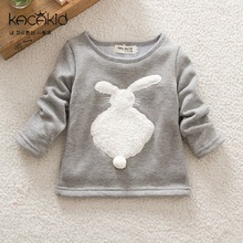 Kacakid new cute baby girls shirts kids thick cartoon long-sleeved T shirt plush rabbit Tops children soft Tees(China)