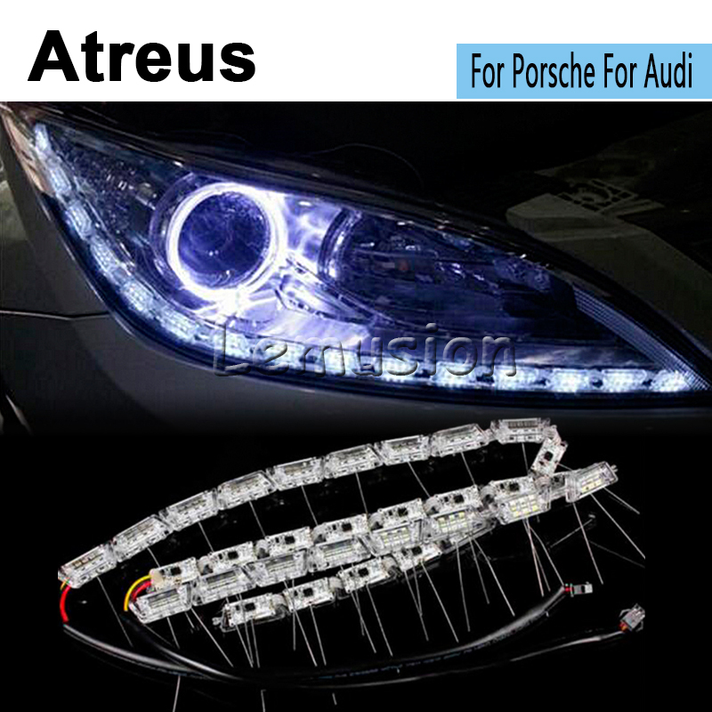 Atreus 2X Car LED Crystal Water Lamp DRL Daytime Running Light 12V Car-styling For Porsche 911 For Audi A4 B6 B8 B7 A3 A6 C5 Bmw<br>