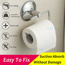 Stainless Steel Bathroom Toilet Paper holder Roll Holder Tissue Bar Holder Wall Mounted by Air Vacuum Suction Cup