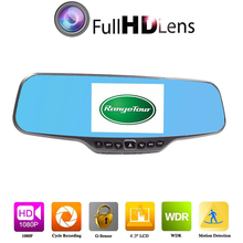 "Z4 Dual Lens Car DVR Rearview Mirror Camera C20 Full HD 1080P 4.3""LCD Parking Night Vision Video Recorder Registrator"