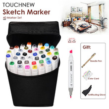 40 Color TOUCHNEW Graphic Touch Marker Pen Set Sketch Art Markers Double Headed Art Pens Drawing School Supplies With 3 Gifts