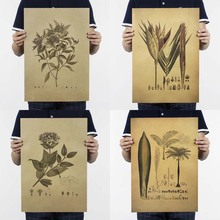 """Sketch Plants""Design Chart Vintage Poster Retro Kraft Paper Posters Bar Cafe Interior Decoration Painting Movie Poster"