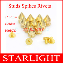 New arrival 8*12mm Golden Screwback Spikes and Studs Punk Bracelets Belt Shoes Free Shippingstar15(China)