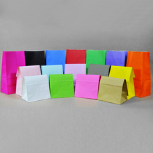 Kraft Paper Gift Bags 10pcs/lot Wedding Candy Packaging Recyclable Jewelry Food Bread Shopping Party Bags For Boutique 19 Colors(China)