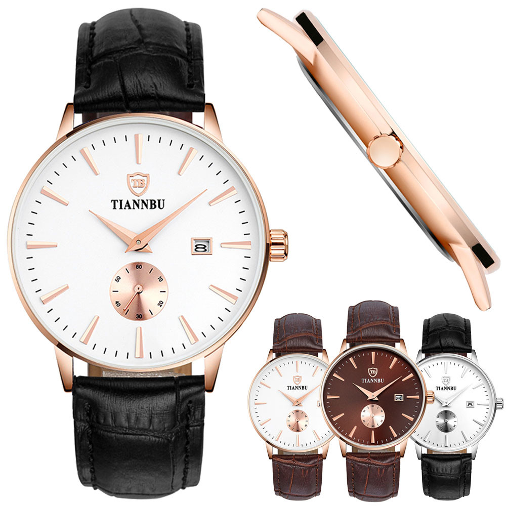 Louise Watches Men Luxury Durable  Handcrafted Ultrathin Date Faux Leather Small Second Plate Waterproof Wrist Watch<br><br>Aliexpress