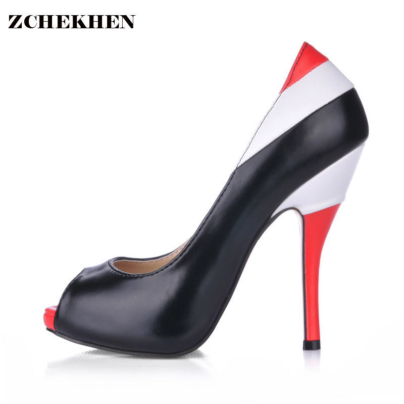 Sexy Special Design PU Stiletto Heels Peep Toe Prom Evening Shoes plus size 35-43<br>