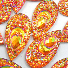 Eye-Catching Orange AB Color 10x20mm Rhinestones Sew On Stones and Crystals Strass Crystal For Sewing Handicrafts Accessories