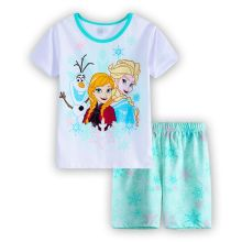 New Children's Sleeping Set Elsa & Anna Pyjamas Baby Sleepwear Clothing Girls Short Sleeve Princess Pajamas Kids Wear