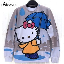 Raisevern Cute Cartoon Hello Kitten Cat Printed Autumn Sweatshirt Animation Print Women Girl Lovely Sweats Kawaii Hoodies Tops