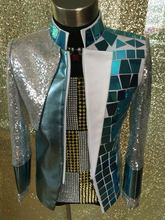 High quality Handmade Nightclub bar Male singer performance Jacket  Party show dj ds costumes  Men's slim outerwear coat suit