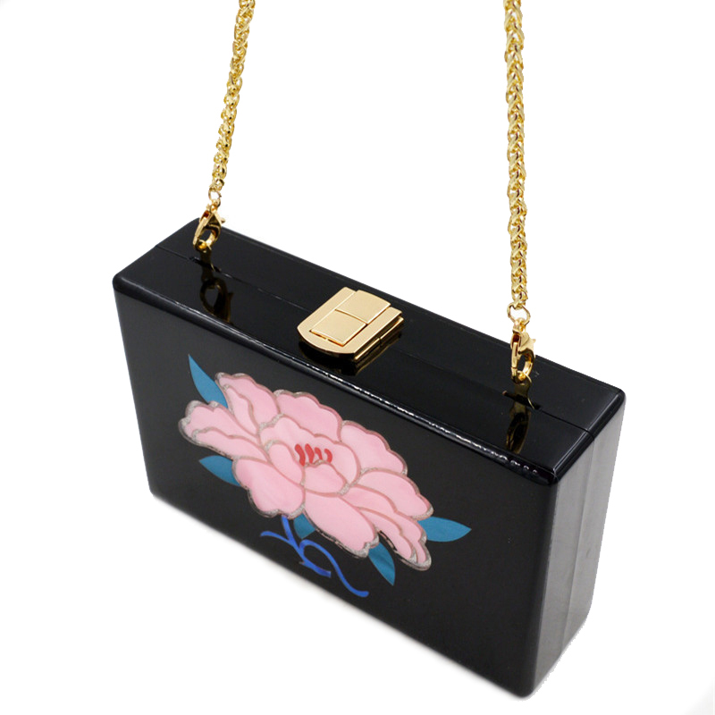 2017 New High-grade Fashion Acrylic Clutch Bags for Ladies Evening Clutch Bags National Flower Printing Women Shoulder Bags<br>
