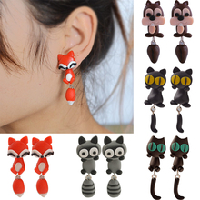 Buy New 100% Handmade Polymer Clay Animal Earrings Cute Cat Red Fox Lovely Panda Squirrel Tiger Stud Earrings Women Jewelry for $1.53 in AliExpress store
