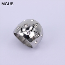 MGUB Zirconium oxide crystal 20mm wide Ring gold/silver color stainless steel Original Image Bright marry jewelry gift HL387