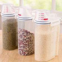 2L Plastic Cereal Dispenser Storage Box Rice Cereal Bean Grain Dry Dried Food Container Sealed Box with Measuring Cup