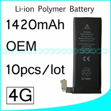 10pcs/lot Hot selling OEM 0 Zero Cycle Full Capacity Battery for iPhone 4 4G 1420mAh 3.7V Replacement Parts