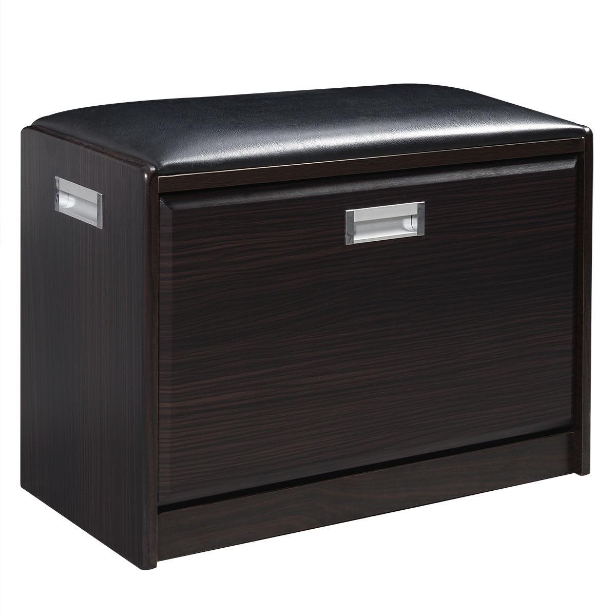 Practical Wooden Shoe Cabinet Closet Storage Rack +PU Seat Bench Entryway Hallway Black<br>