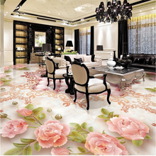 beibehang  flooring wallpaper European rose soft marble relief floor 3D tiles painted vinyl floor vinyl self-adhesive wall paper