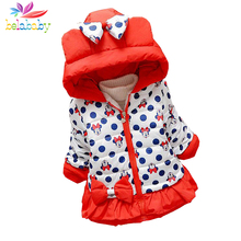 Belababy Baby Girls Coat Winter Child Girl Polka Dot Hooded Outerwear Kids Cartoon Coats Thicken Winter