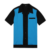 rockabilly work shirts plus size tops 50'S blue&black club wear clothing for men wholesales free drop shipping