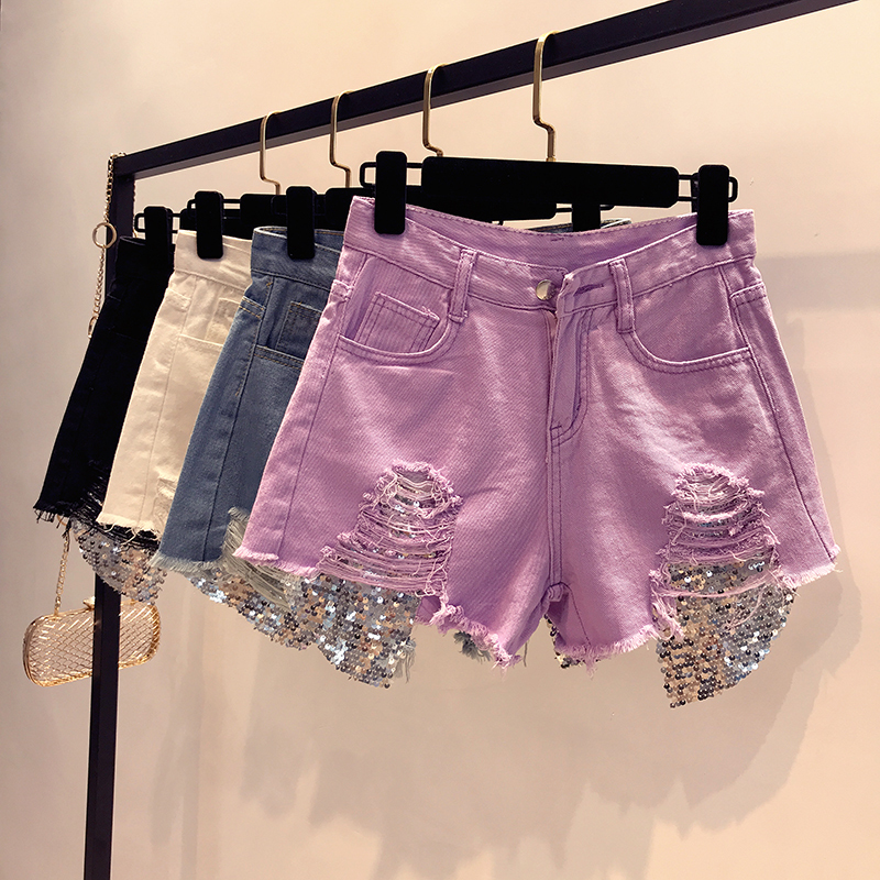 2018 Summer New Arrival Women High Waist Solid Color Denim Hole Sequined Spliced Casual Wide-leg Shorts Jeans