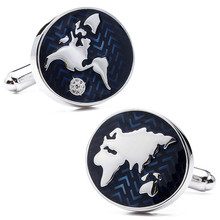 Brand Hawson Fashion Jewelry Blue World Map Cuff links for Business Men Luxury Gift Cufflinks