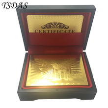Set Of 100 Euro 24k Gold Playing Cards Double Side Gold Plated, Golden Poker Card With Wooden Box Christmas Wedding Gifts(China)