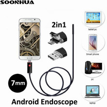 1m/2m/5m/10m 7MM Lens 2 IN 1 Android/PC 720P HD Endoscope Tube Waterproof Snake Borescope USB Inspection Mini Camera With 6 LED