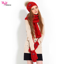 2017 Promotion Sale Women Adult Female Winter Yarn Knitted Plus Velvet Thermal Kit Ultra Long Scarf Hat Gloves Three Pieces Set