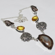 Solar Druzy & Citrines Necklace Silver Overlay over Copper , 49cm, N1032(China)